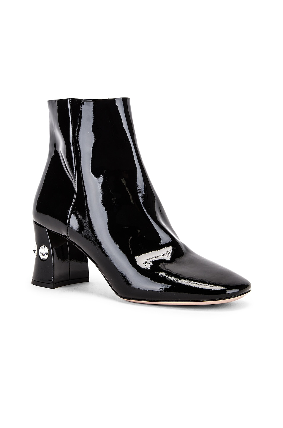 Image 2 of Miu Miu Jeweled Ankle Boots in Black
