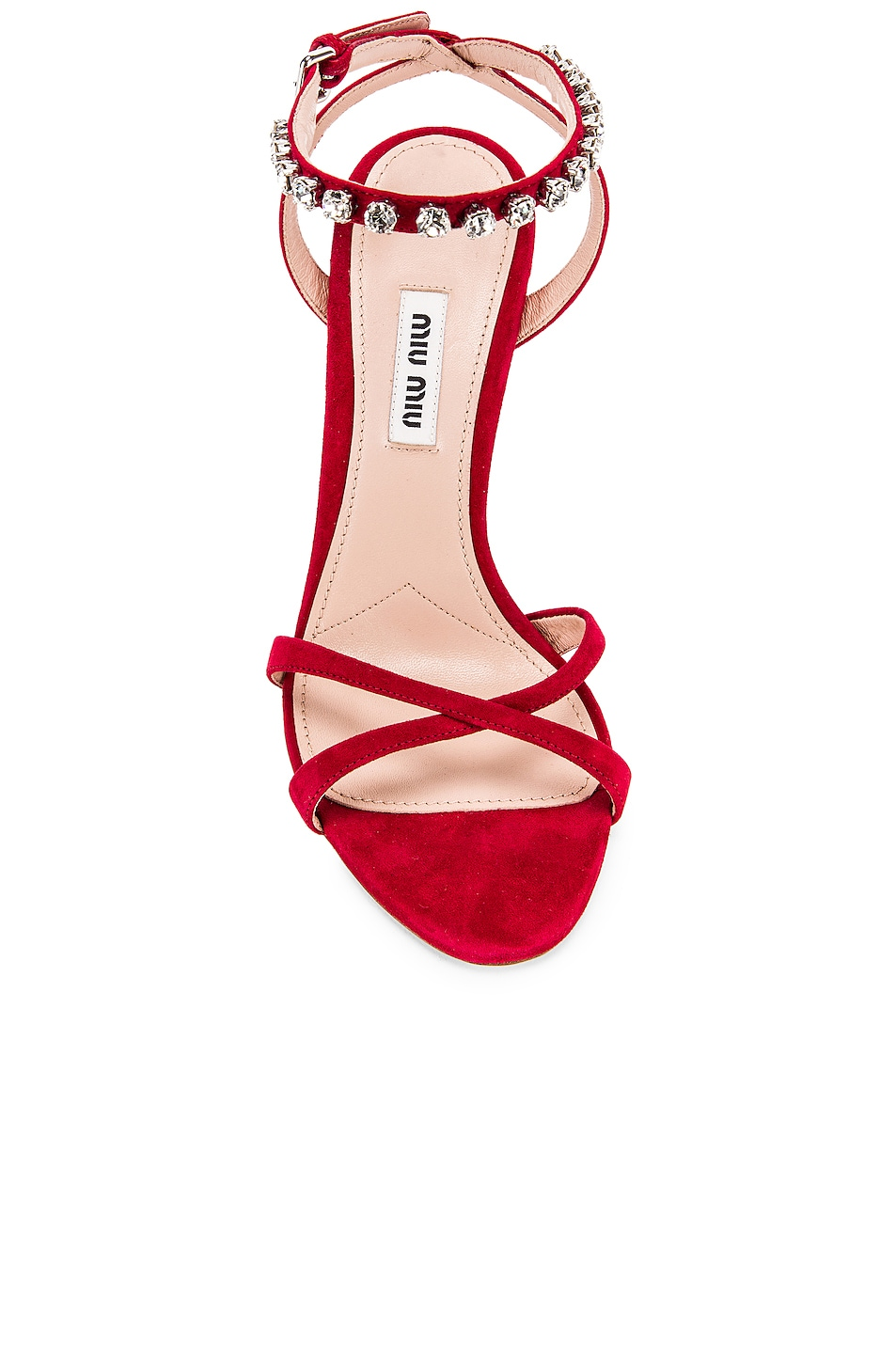 Image 4 of Miu Miu Jeweled Ankle Strap Sandals in Cherry