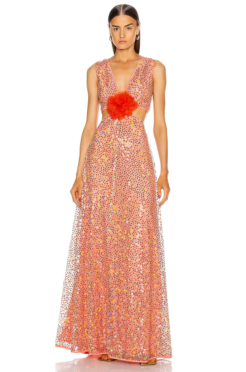Image 1 of Markarian Iridescent Sequin Cut Out Gown in Coral