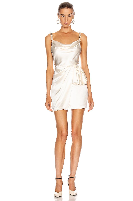 Image 1 of Markarian Rosetta Mini Wrap Dress in Ivory