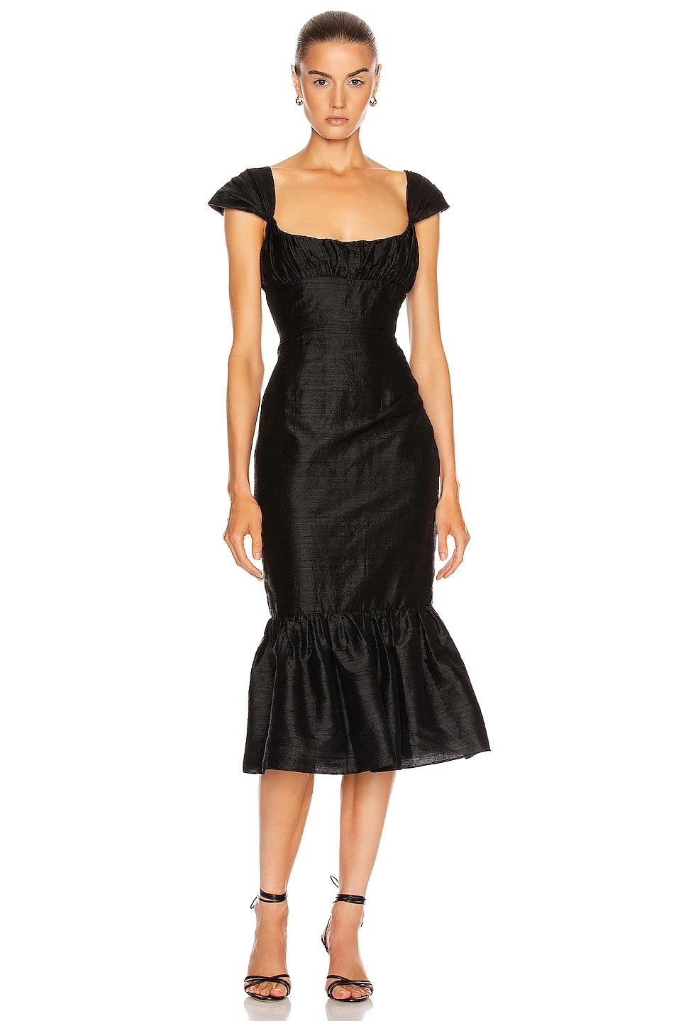 Image 1 of Markarian Mondella Ruched Flounce Dress in Black