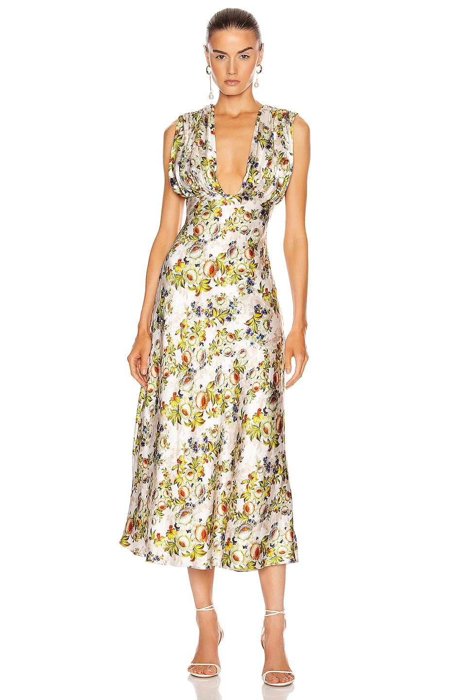 Image 1 of Markarian Donna Plunging Ruched Dress in Green Floral