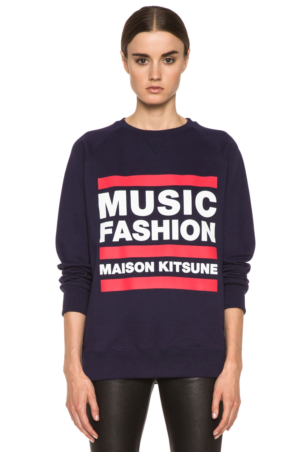 Image 1 of Maison Kitsune Cotton Sweater with Print in Navy