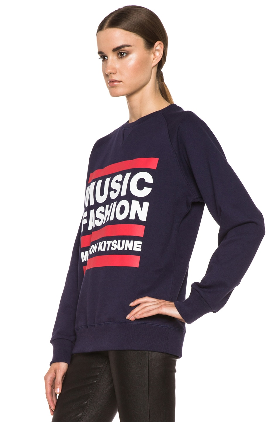 Image 2 of Maison Kitsune Cotton Sweater with Print in Navy