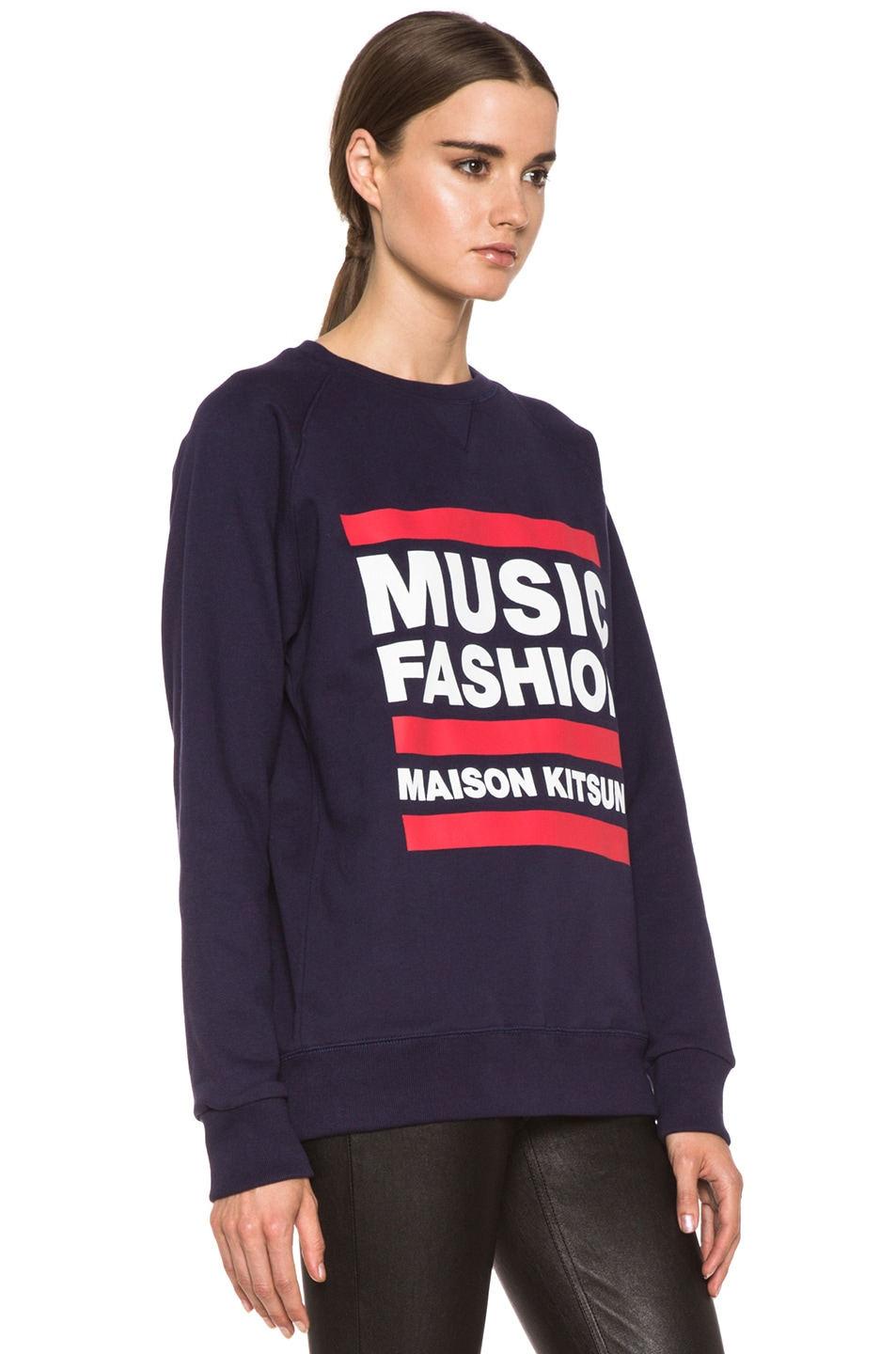 Image 3 of Maison Kitsune Cotton Sweater with Print in Navy