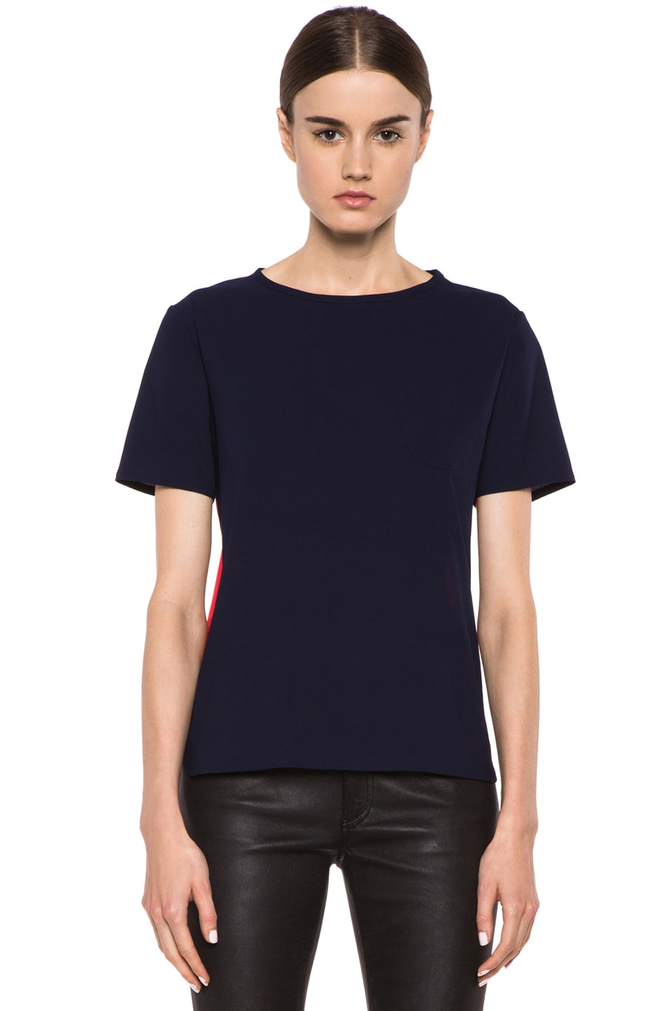 Image 1 of Maison Kitsune Bicolor Poly Top in Navy & Red