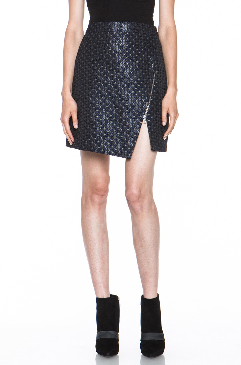 Image 1 of Markus Lupfer Brocade Poly-Blend Zip Skirt in Navy