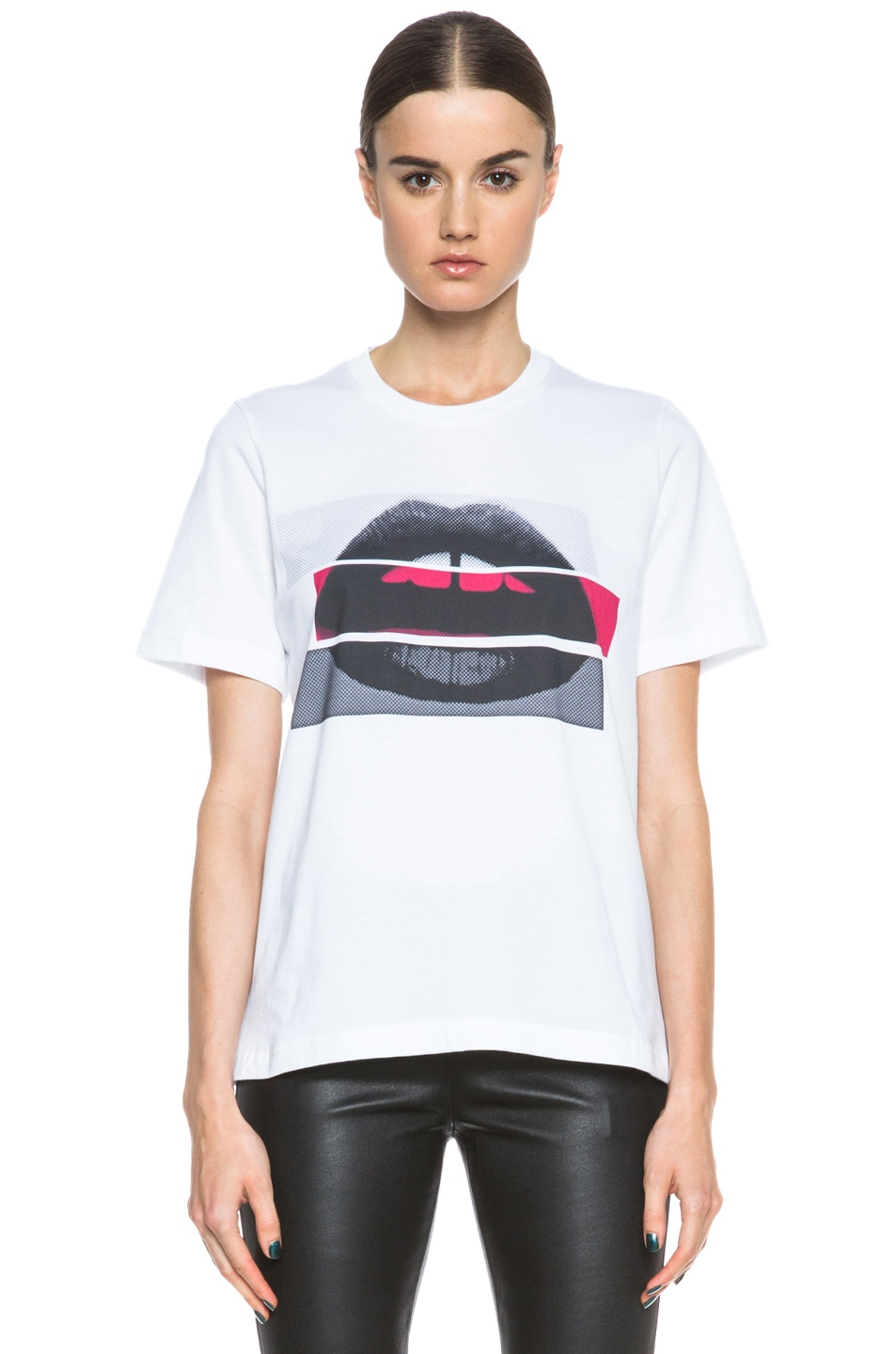 Image 1 of Markus Lupfer Color Block Lip Cotton Tee in White, Red, & Grey