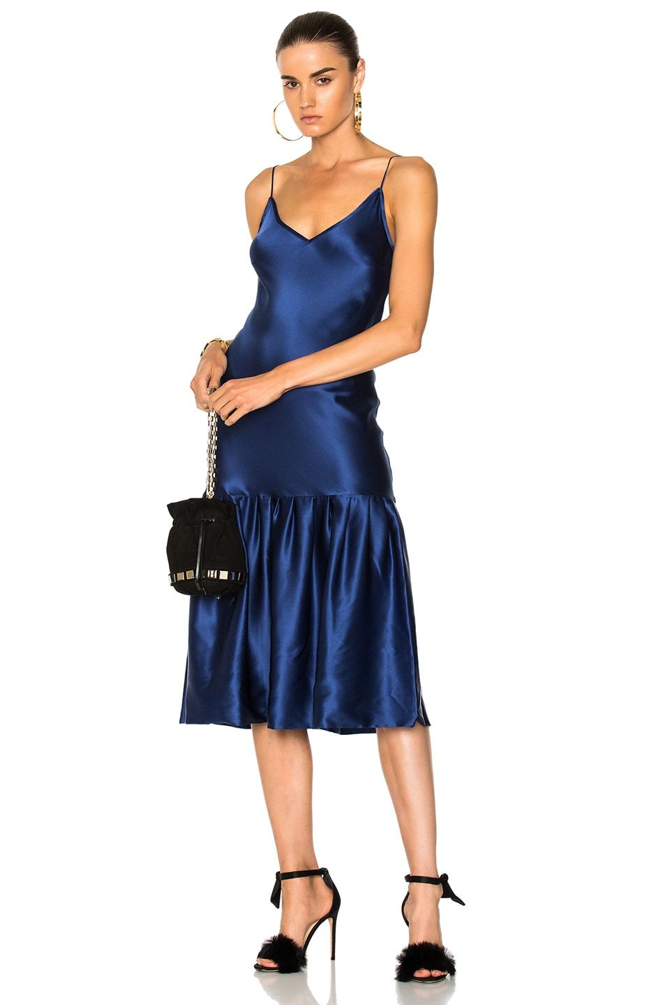 Don'T Underestimate Me Pleated Silk-Satin Midi Dress in Storm Blue