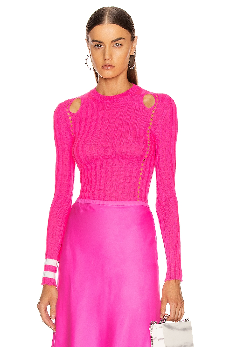 Image 1 of Maggie Marilyn Hole Lot of Loving Sweater in Fluro Pink & Ivory
