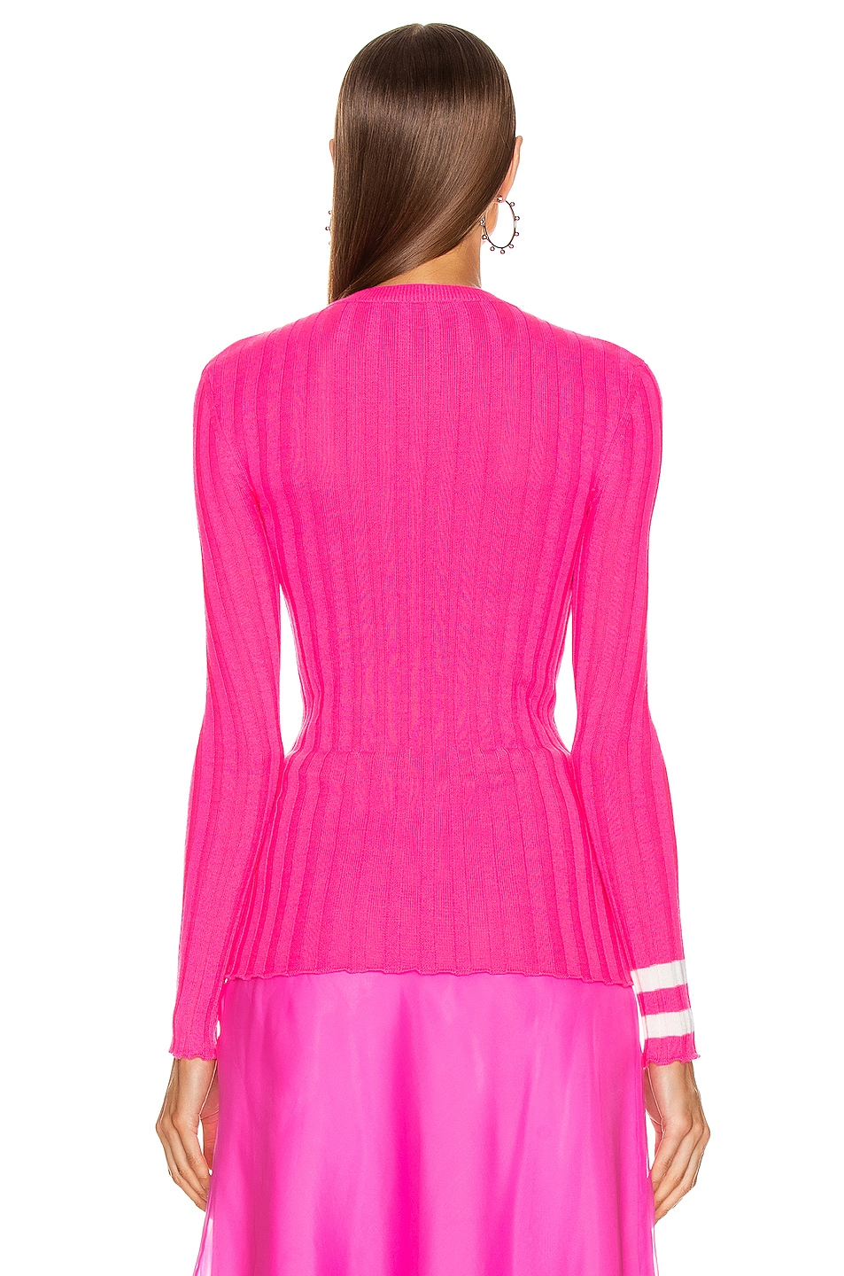 Image 3 of Maggie Marilyn Hole Lot of Loving Sweater in Fluro Pink & Ivory