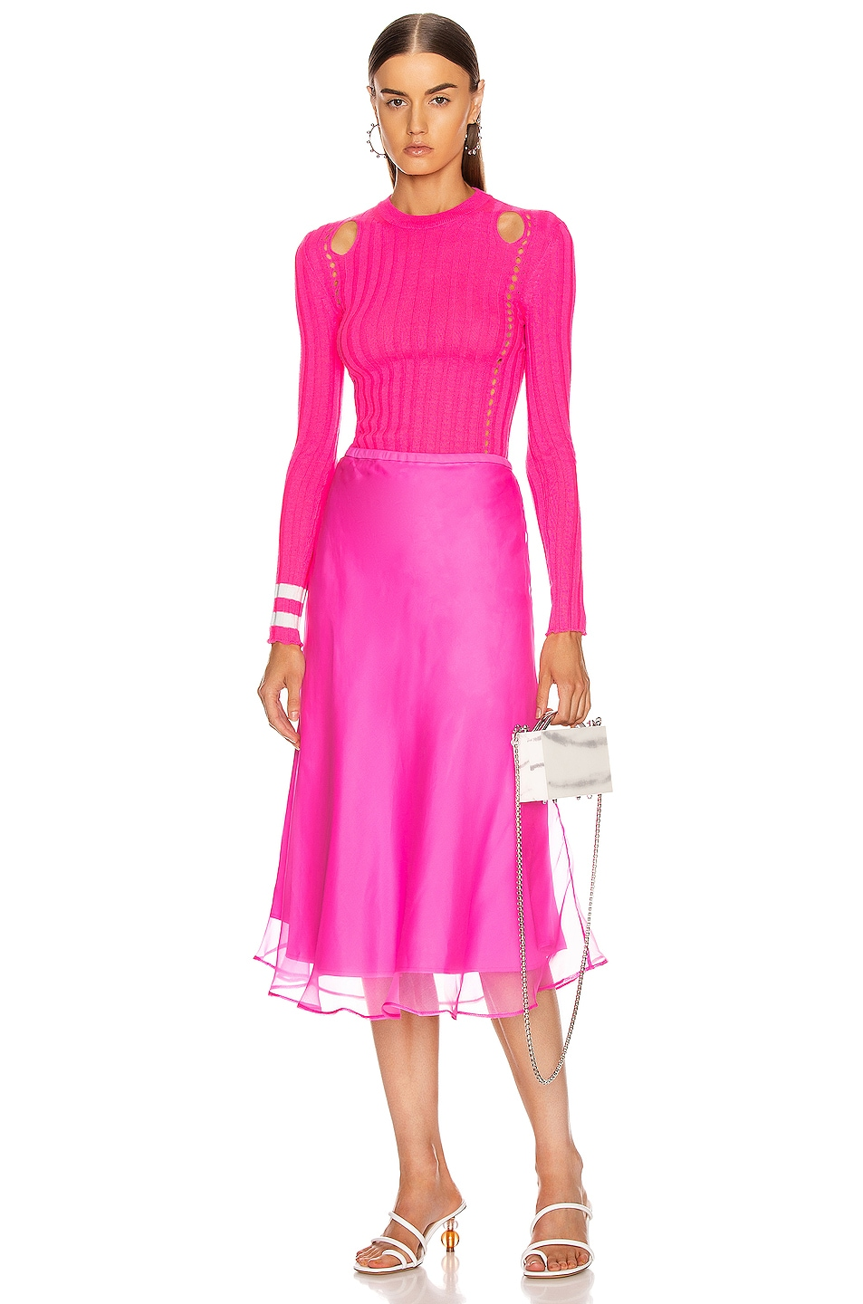 Image 4 of Maggie Marilyn Because We Can Midi Skirt in Fluro Pink
