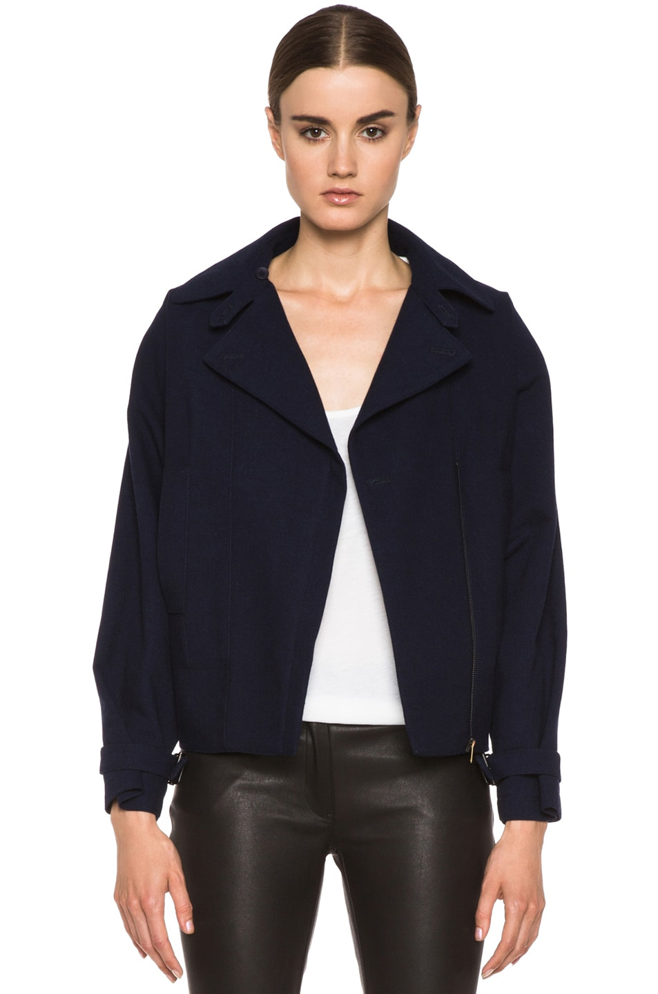 Image 1 of MM6 Maison Margiela Cropped Wool Coat in Indigo