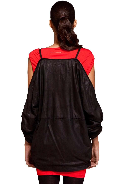 Image 4 of MM6 Maison Margiela Leather Jacket in Black