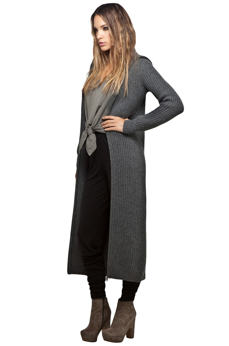 MM6 Maison Margiela Long Cardigan in Dark Grey | FWRD