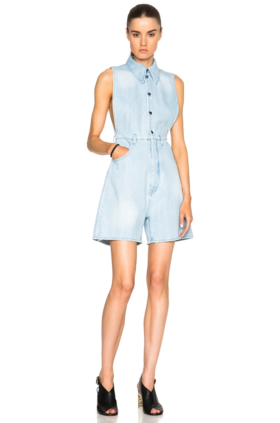 Image 1 of MM6 Maison Margiela Stone Washed Romper in Light Blue