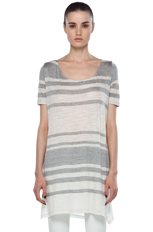 Image 1 of MM6 Maison Margiela Striped Tunic in Grey/Ecru