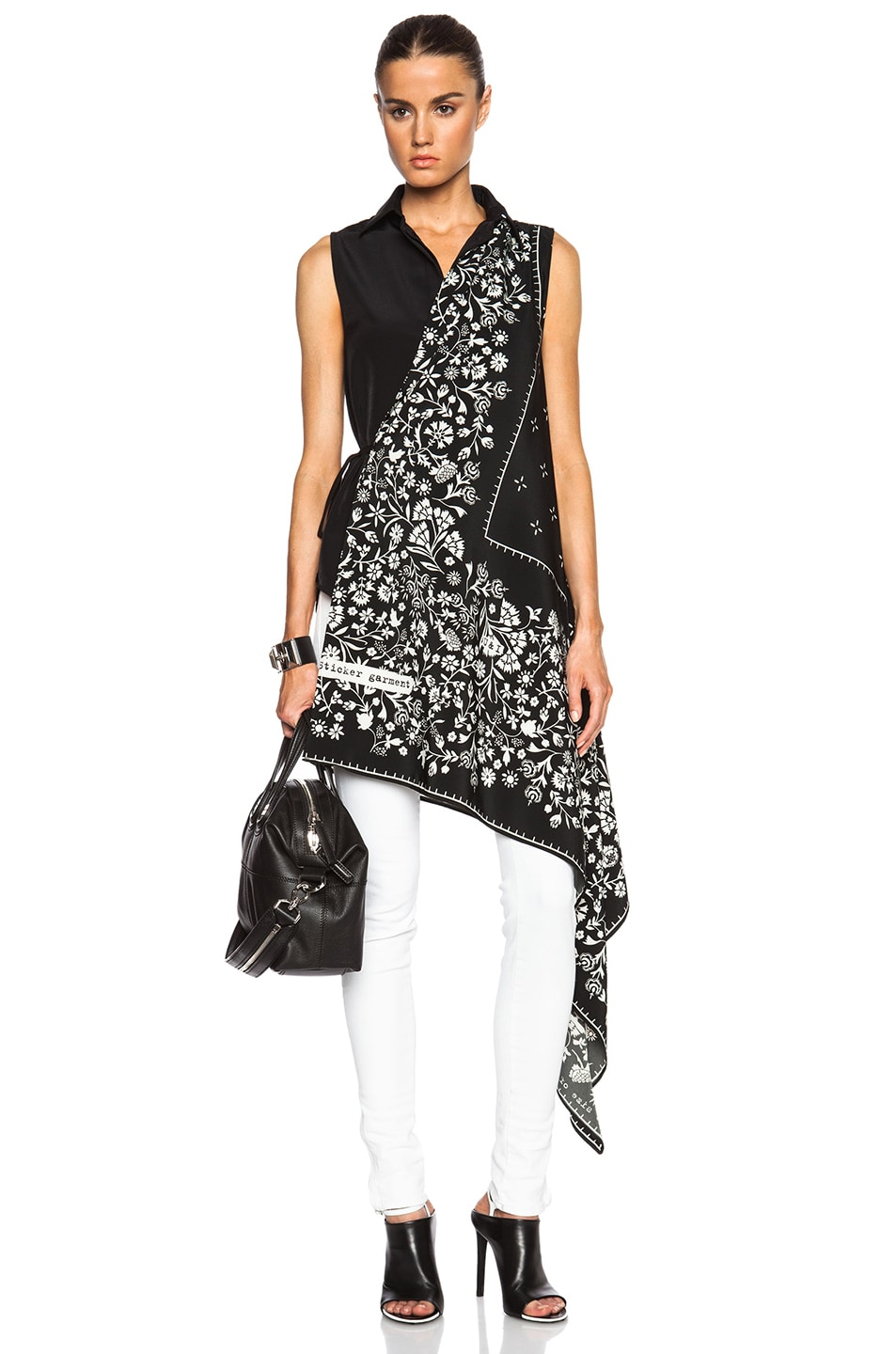Image 1 of MM6 Maison Margiela Sleeveless Button Down Top in Scarf Black Print
