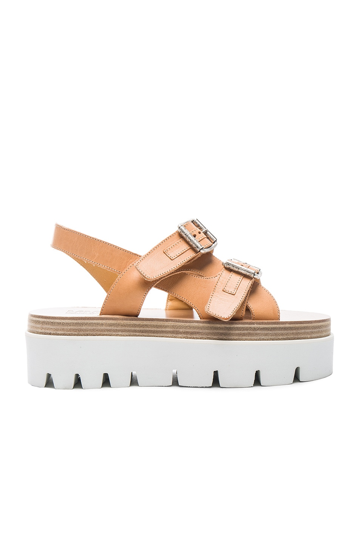 Image 1 of MM6 Maison Margiela Platform Buckled Leather Sandals in Tan