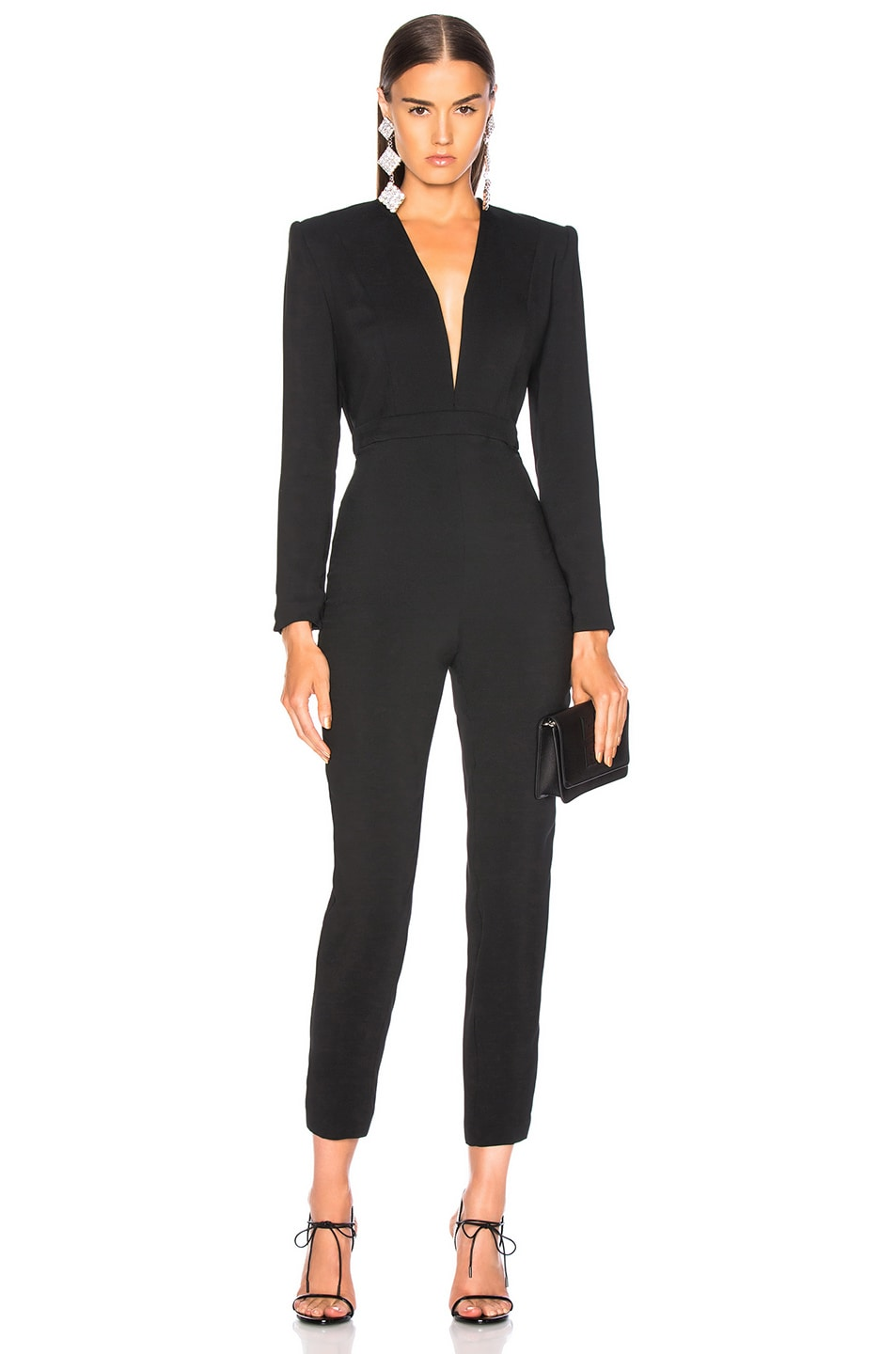 Image 1 of Michelle Mason Jumpsuit With Draped Back in Black