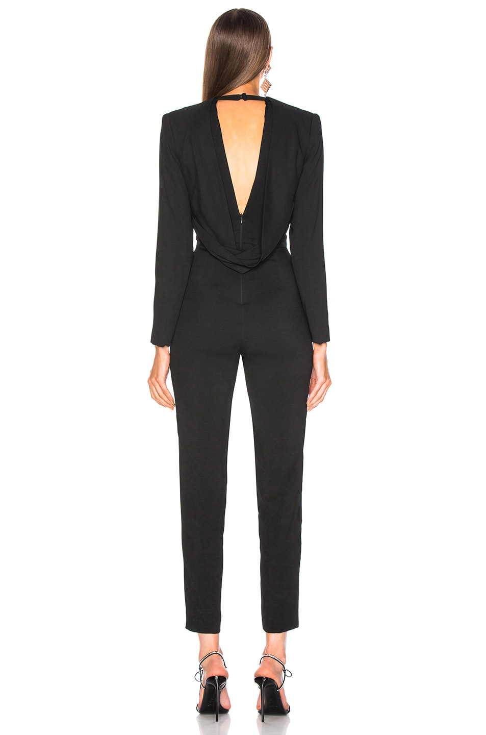 Image 3 of Michelle Mason Jumpsuit With Draped Back in Black