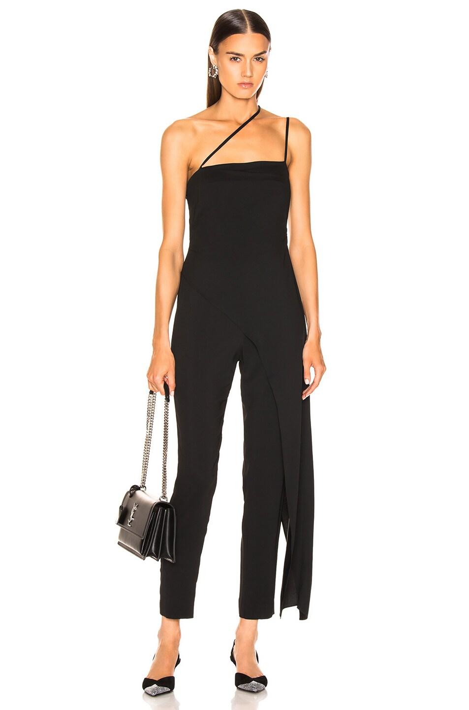 Image 1 of Michelle Mason Asymmetrical Strap Jumpsuit in Black