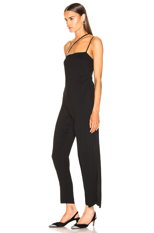 Image 3 of Michelle Mason Asymmetrical Strap Jumpsuit in Black