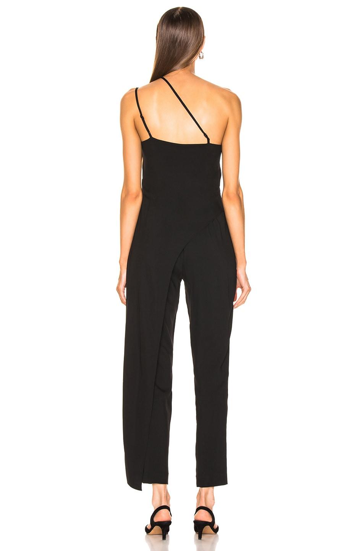 Image 4 of Michelle Mason Asymmetrical Strap Jumpsuit in Black