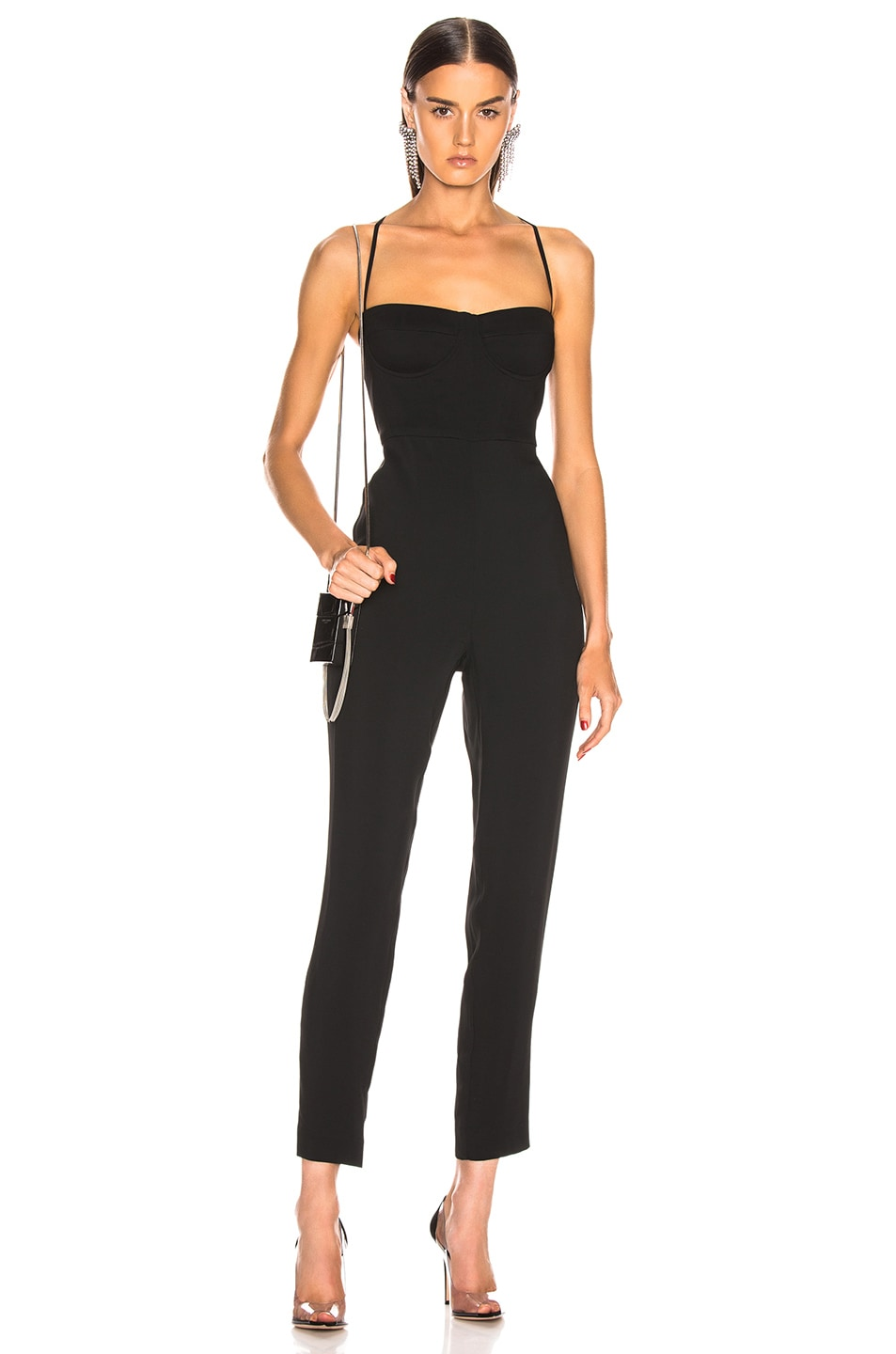 Image 1 of Michelle Mason Bustier Jumpsuit in Black