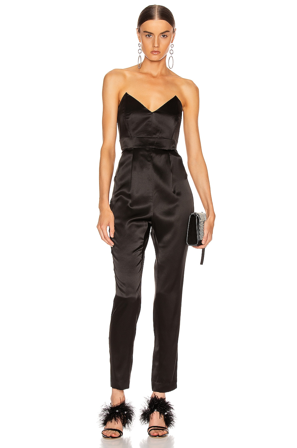 Image 1 of Michelle Mason Strapless Plunge Jumpsuit in Black