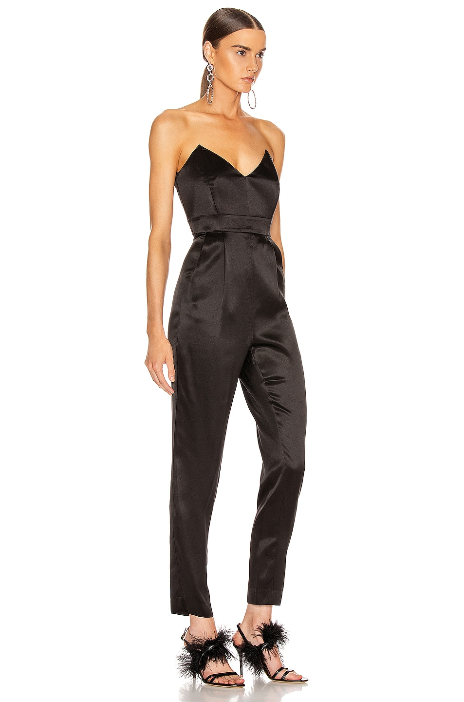 Image 2 of Michelle Mason Strapless Plunge Jumpsuit in Black