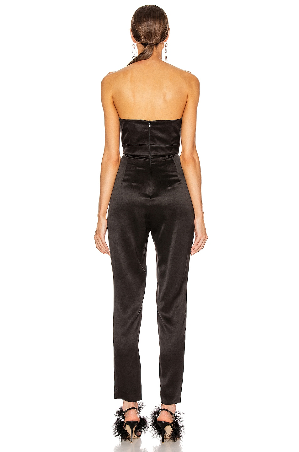 Image 3 of Michelle Mason Strapless Plunge Jumpsuit in Black
