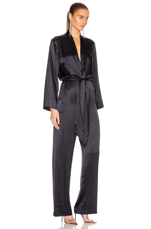 Image 2 of Michelle Mason Kimono Tie Jumpsuit in Midnight