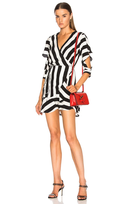 Image 1 of Michelle Mason Flutter Wrap Dress in Stripe