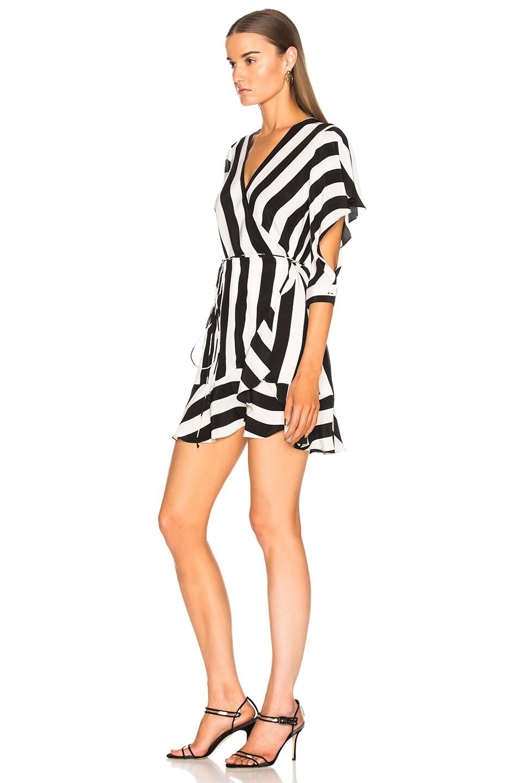 Image 3 of Michelle Mason Flutter Wrap Dress in Stripe