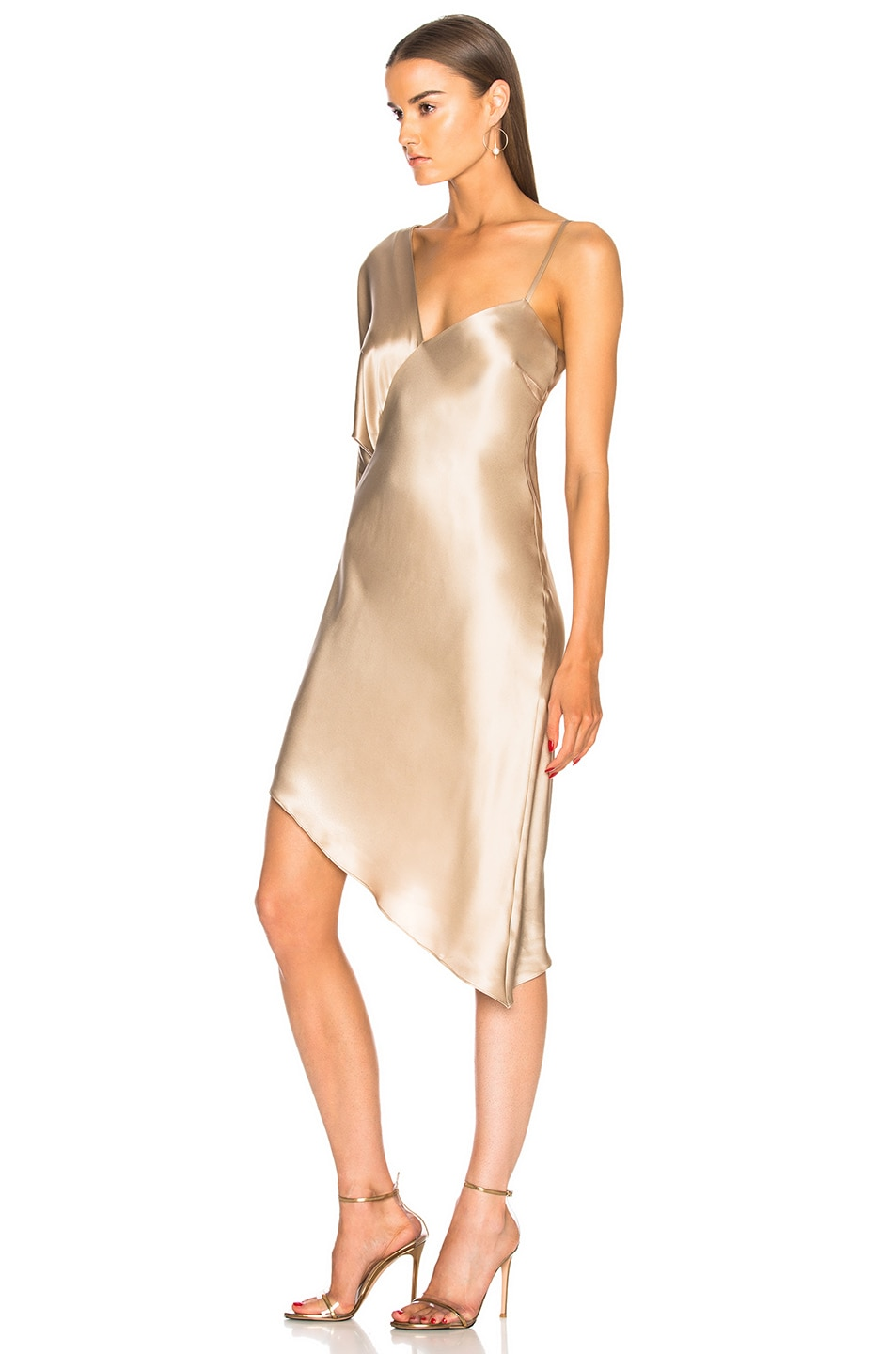 Image 3 of Michelle Mason for FWRD Asymmetrical One Shoulder Dress in Champagne