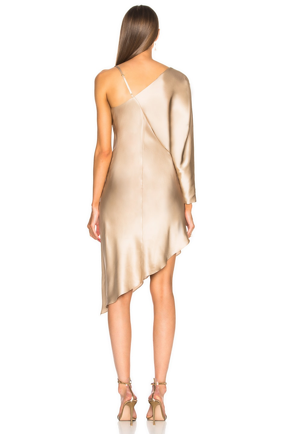 Image 4 of Michelle Mason for FWRD Asymmetrical One Shoulder Dress in Champagne