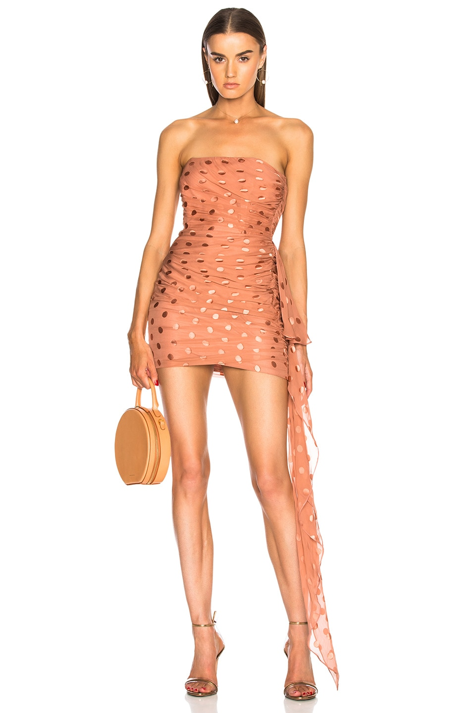 Image 1 of Michelle Mason Ruched Strapless Dress in Desert Rose