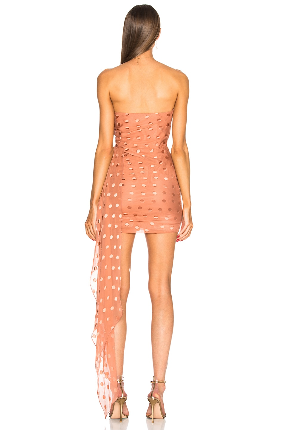Image 4 of Michelle Mason Ruched Strapless Dress in Desert Rose