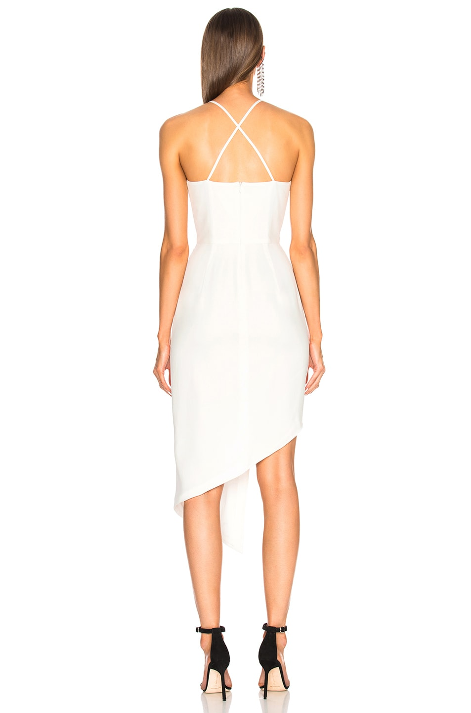8042526b70d0a Image 4 of Michelle Mason Asymmetrical Plunge Dress in Ivory