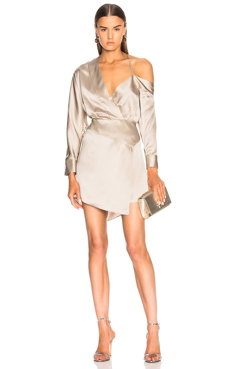 Michelle Mason MICHELLE MASON OFF SHOULDER MINI DRESS IN METALLICS,GRAY