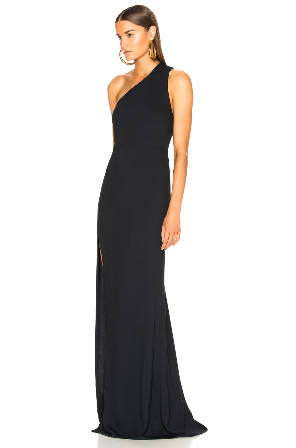 Image 3 of Michelle Mason Back Strap Gown in Midnight