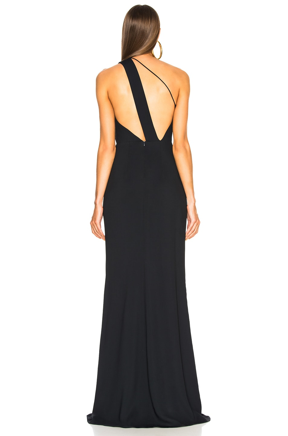 Image 4 of Michelle Mason Back Strap Gown in Midnight