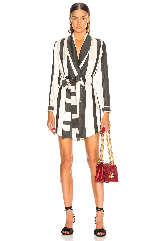 Image 1 of Michelle Mason Belted Dress Jacket in Black Stripe