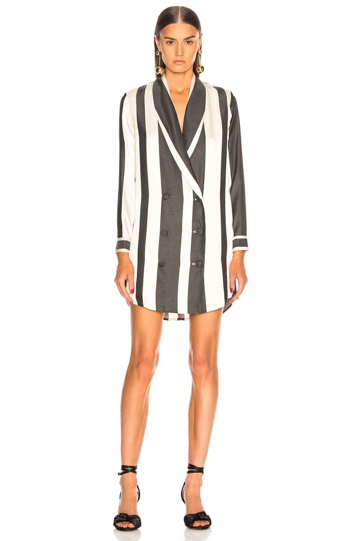 Image 2 of Michelle Mason Belted Dress Jacket in Black Stripe