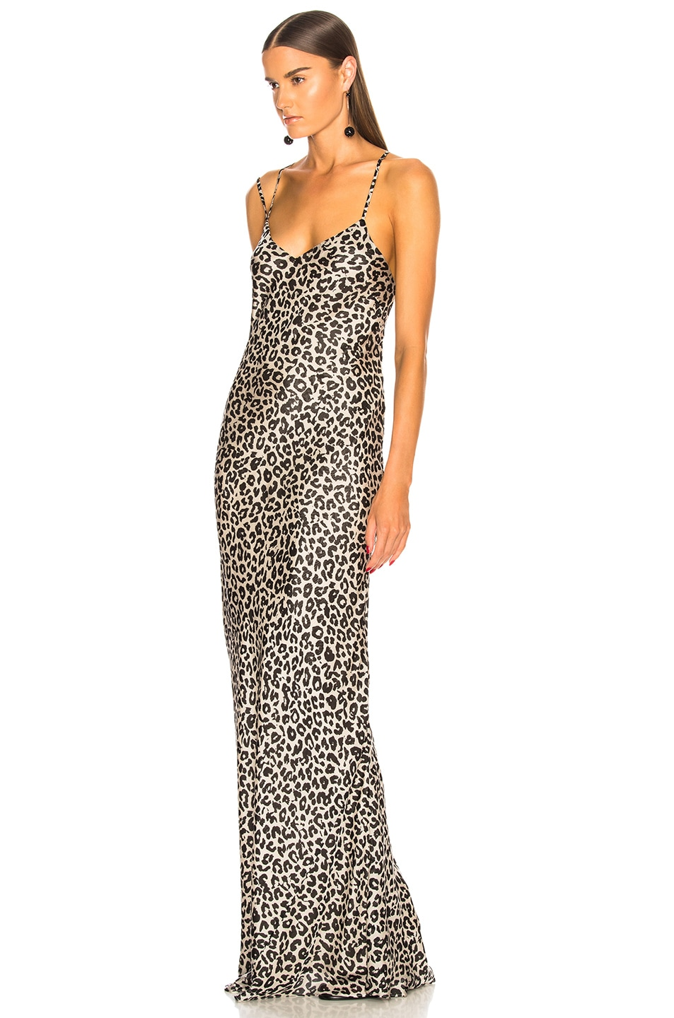 Image 3 of Michelle Mason Bias Gown with Back Drape in White Leopard