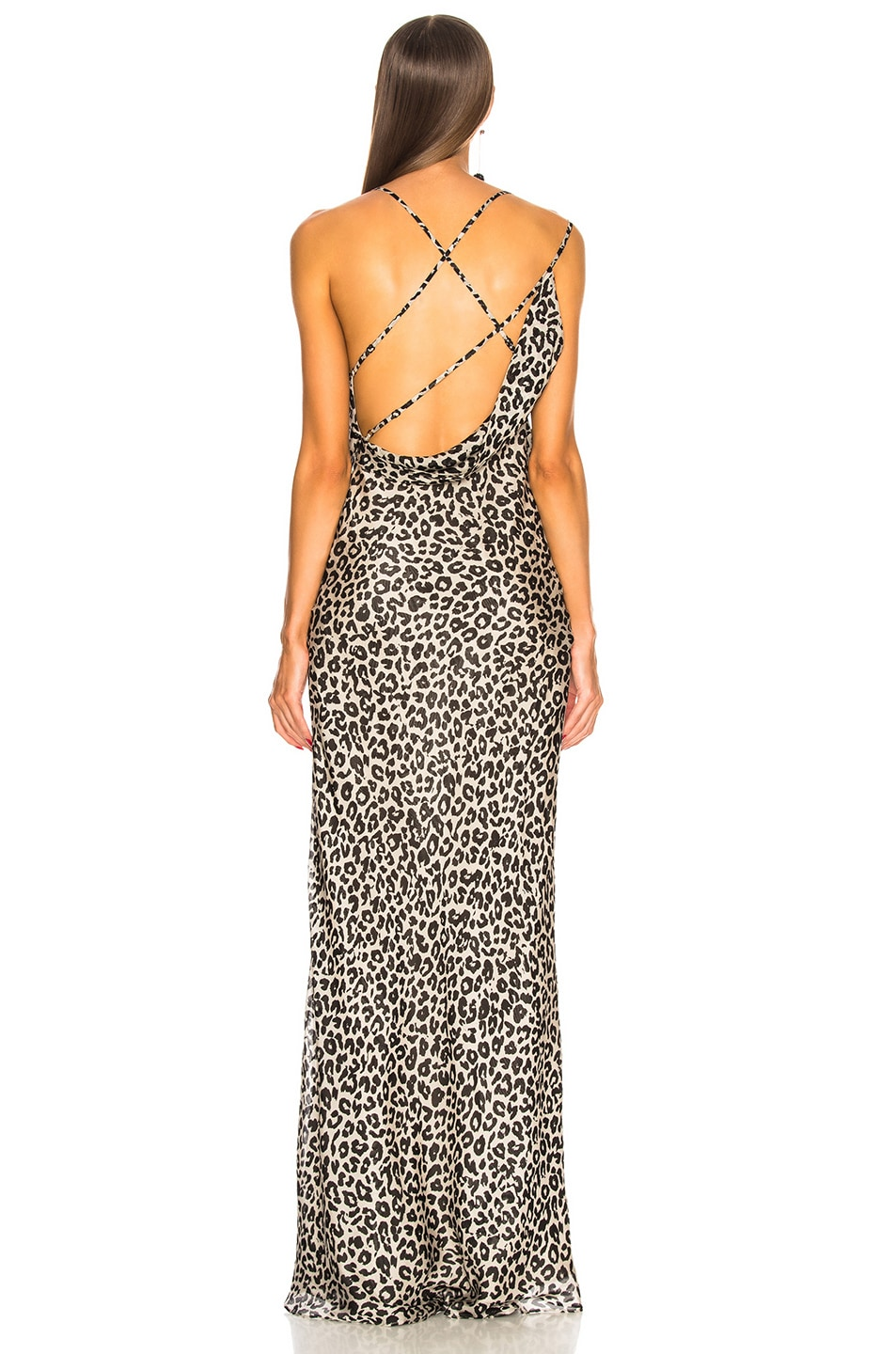 Image 4 of Michelle Mason Bias Gown with Back Drape in White Leopard