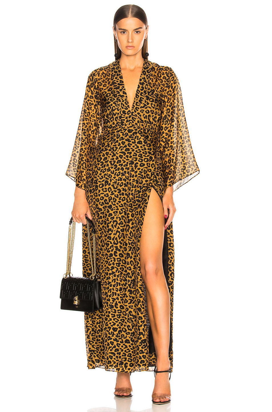 Image 1 of Michelle Mason Long Sleeve Plunge Gown in Tan Leopard