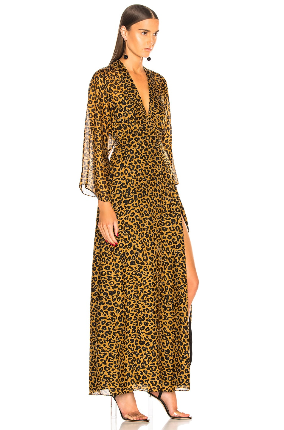 Image 2 of Michelle Mason Long Sleeve Plunge Gown in Tan Leopard