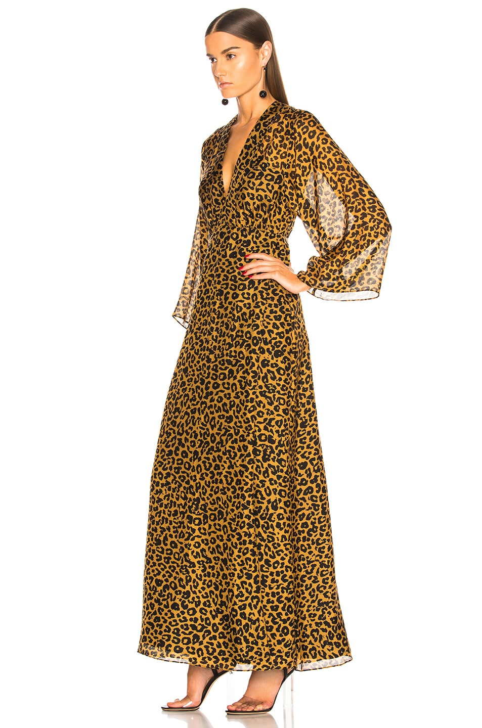 Image 3 of Michelle Mason Long Sleeve Plunge Gown in Tan Leopard